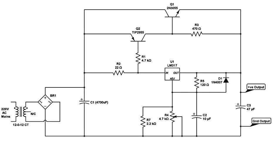 high current dc regulated power supply circuit with lm317 – 5 amp current  with voltage control
