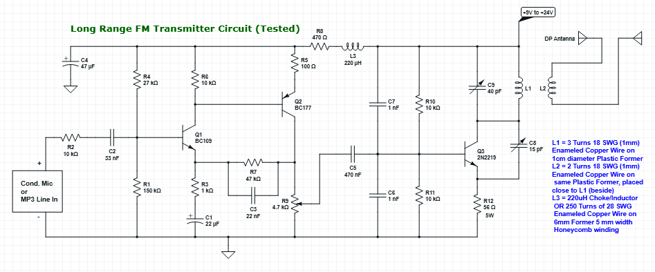 Long Range Powerful FM Transmitter Circuit Diagram Tested and Working