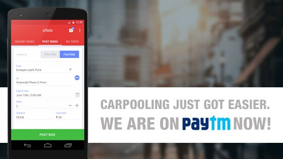 Sride Is The 1st Carpooling App To Offer Payments Via Paytm Sride