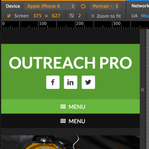 How to add MENU to the right of hamburger icon in Outreach Pro