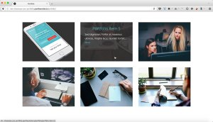Grid of Portfolio images with Title and Excerpt on Hover in Showcase Pro