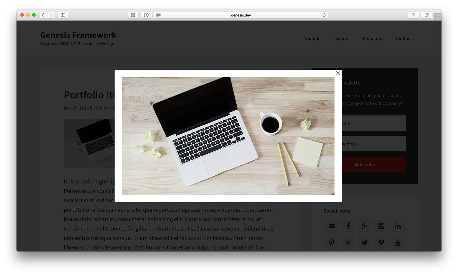 how to open portfolio image in a lightbox using in genesis