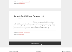 How to set up a button to load more posts on the same page using Infinite Scroll in Genesis