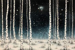 painting of a birch forest in the snow