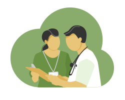 illustration AMS specialist talking to doctor