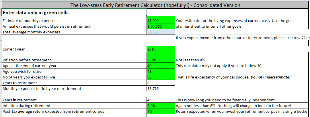 Retirement Inputs