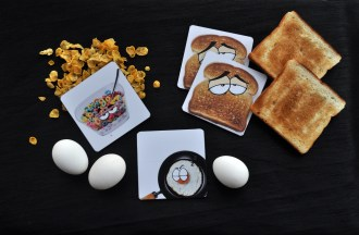 Pallabi Das - Breakfast TableCoasters ( She designed the characters on photoshop and printed them on coasters )