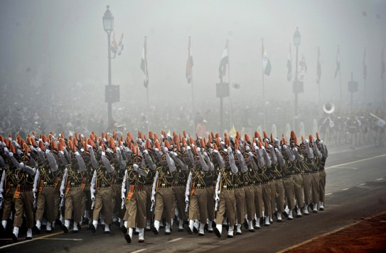 Indian soldiers march during the Indian Republic Day parade in New Delhi on January 26, 2010. Blanket fog obscured the start of India's 60th Republic Day celebrations, with the annual military parade in New Delhi held under heightened security due to fears of militant attacks. AFP PHOTO/PEDRO UGARTE (Photo credit should read PEDRO UGARTE/AFP/Getty Images)