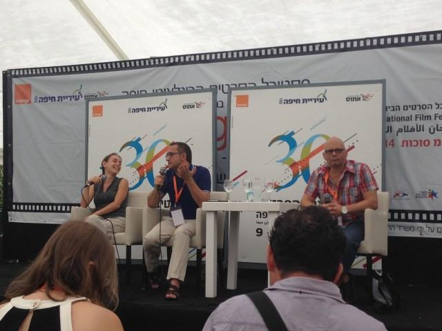 מימין לשמאל: ירון שמיר מפסטיבל חיפה, הבמאי אנדריי זוויאגינצב, והשחקנית אסיה נייפלד שתירגמה