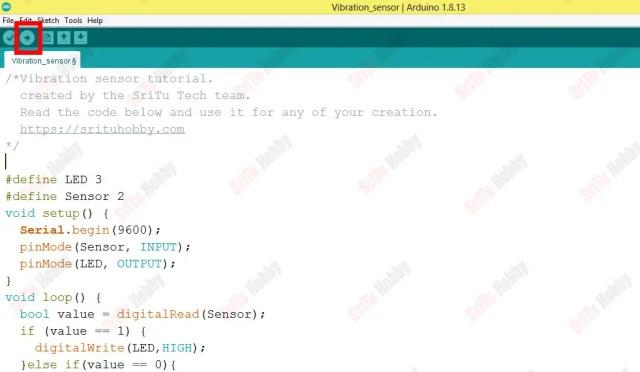 SW 420 vibration sensor with Arduino code upload