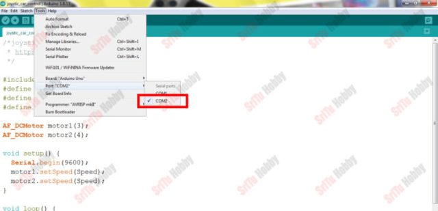 OK, now select board and port. Then, upload this code to the Arduino board.