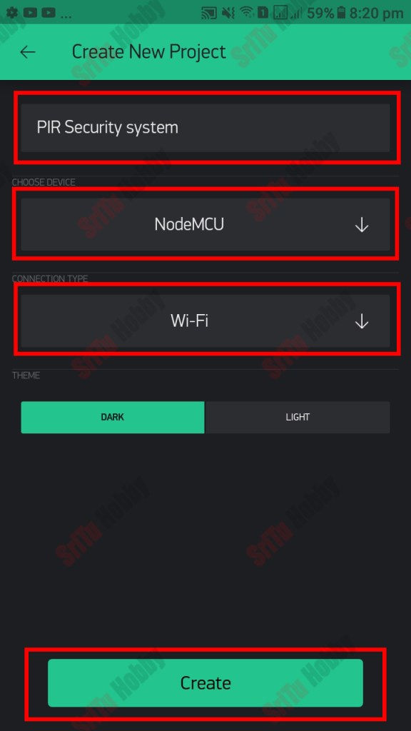 """Then, enter the project name as you wish. Also, select the device and connection type. After. Click the """"Confirm"""" button."""