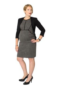 Pregnat woman executive in full body portrait