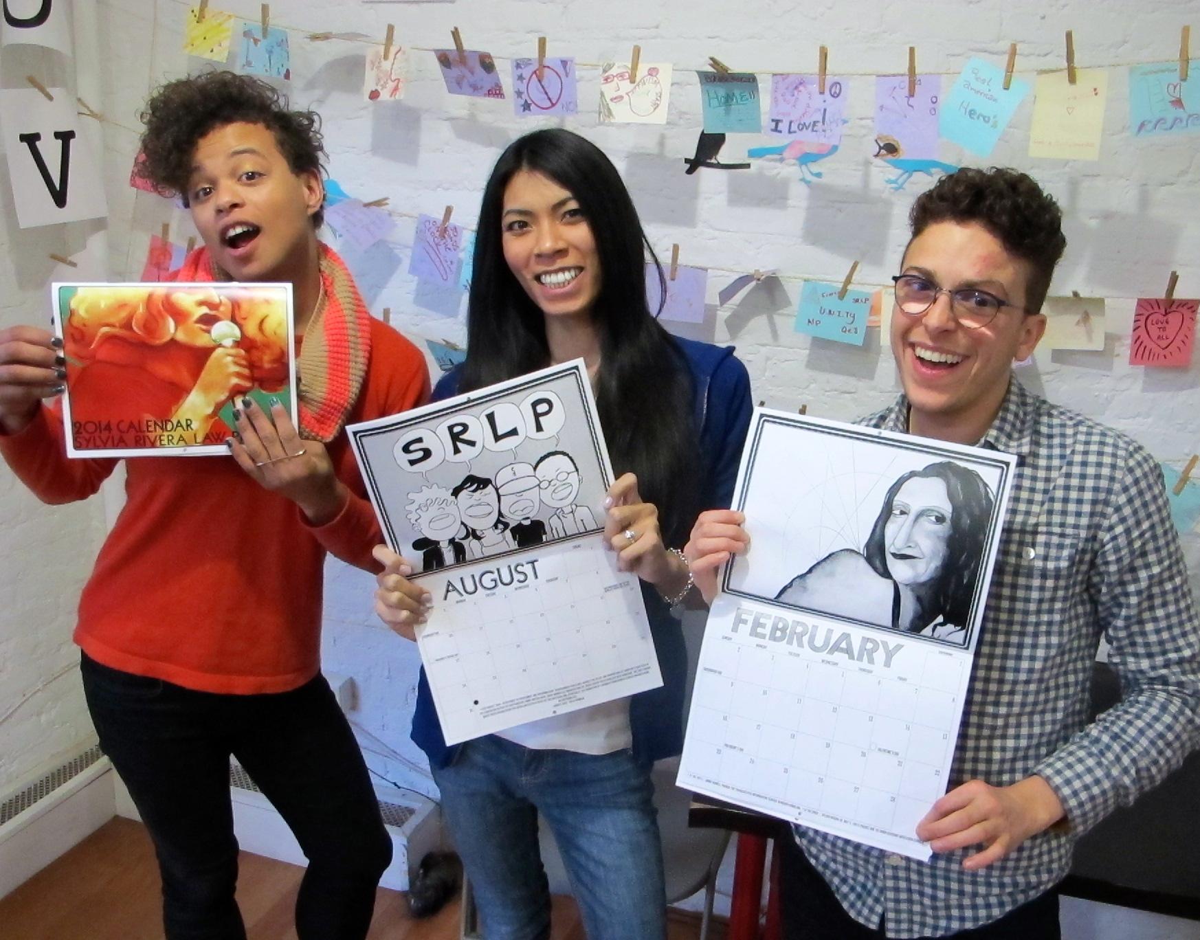 Reina, Stevie, and Avi model the 2014 SRLP calendar.