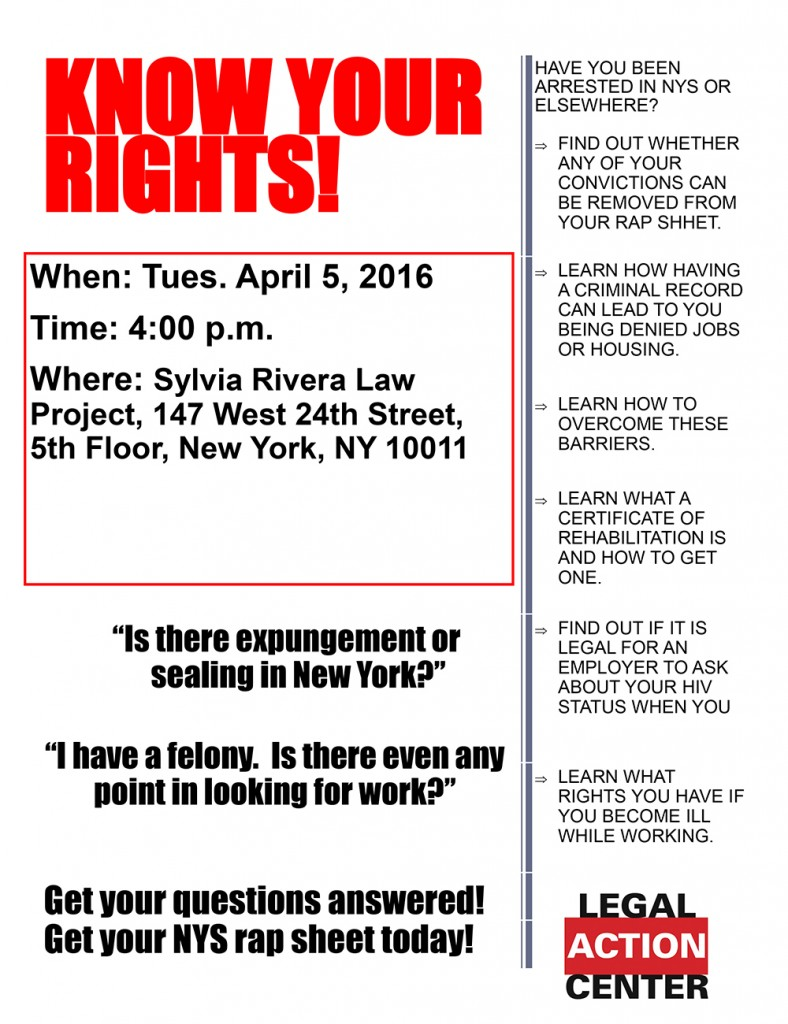 Sylvia Rivera Law Project Rap Sheet Flier for promotion