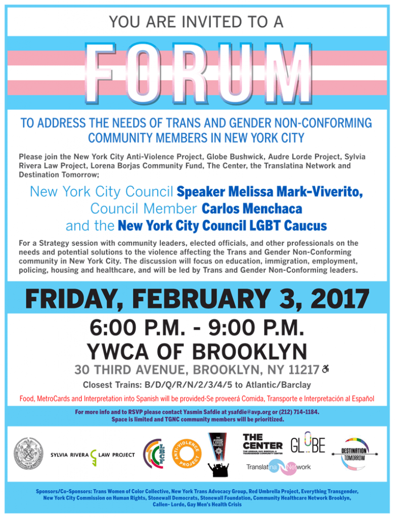 Brooklyn TGNC Forum Flyer-English