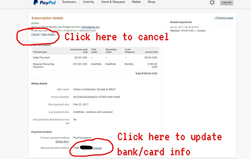 cancel vs bank info