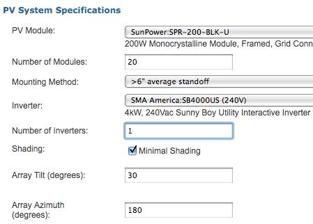 CSI Solar calculator Example Input