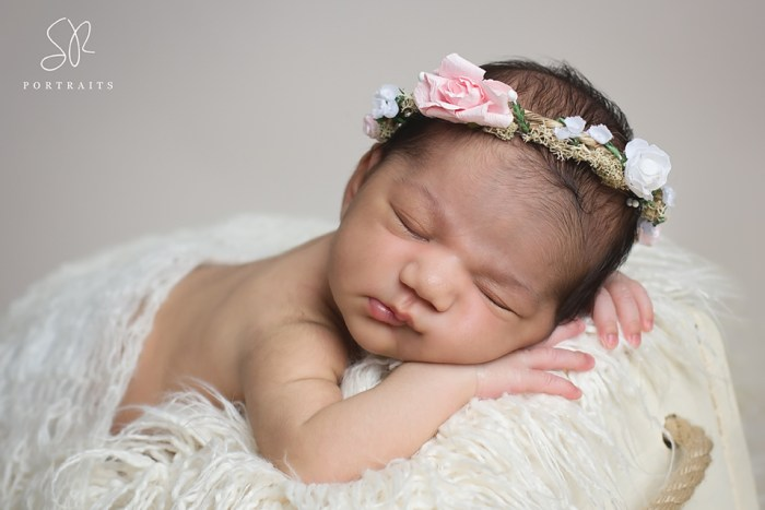 Newborn Photo Shoot Leicester - baby with flowers in hair