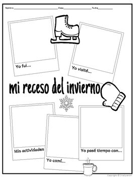 Winter Break Writing Activity in Spanish & English Digital