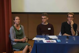 Dr Laura Lonsdale and two student volunteers in the admissions Q&A