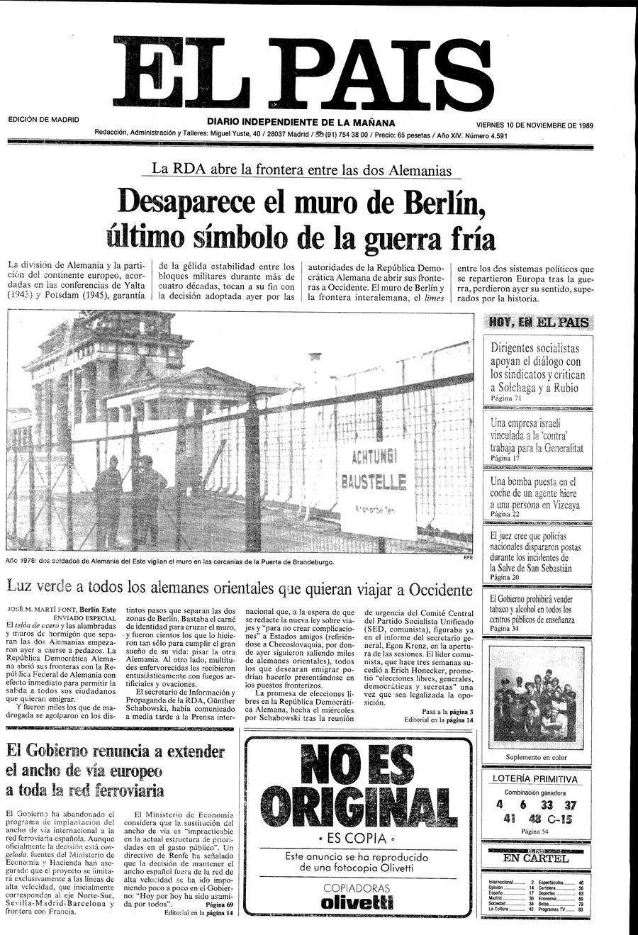 Portada de EL PAÍS del 10-11-1989