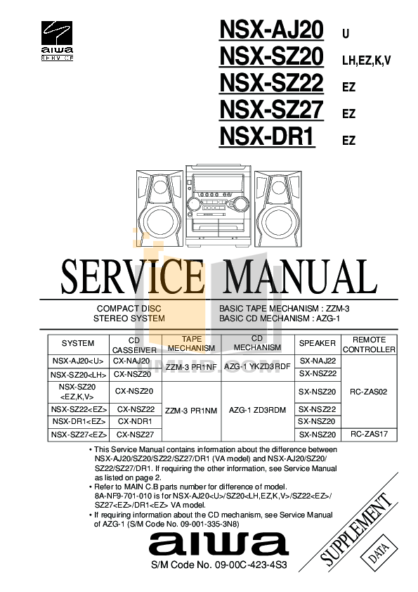 Download free pdf for Aiwa LCX-107 Stereo Systems Other manual