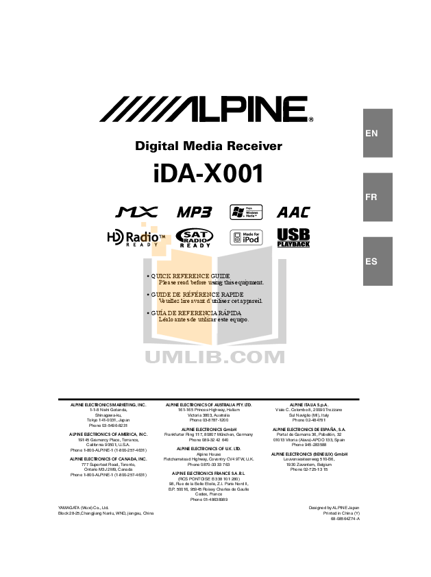 ALPINE IDA-X001 MANUAL PDF