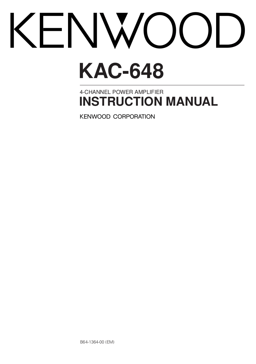 Download free pdf for Kenwood KAC-648S Car Amplifier manual