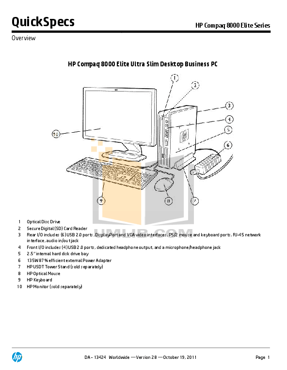Download free pdf for HP Compaq Elite 8000 SFF Desktop manual