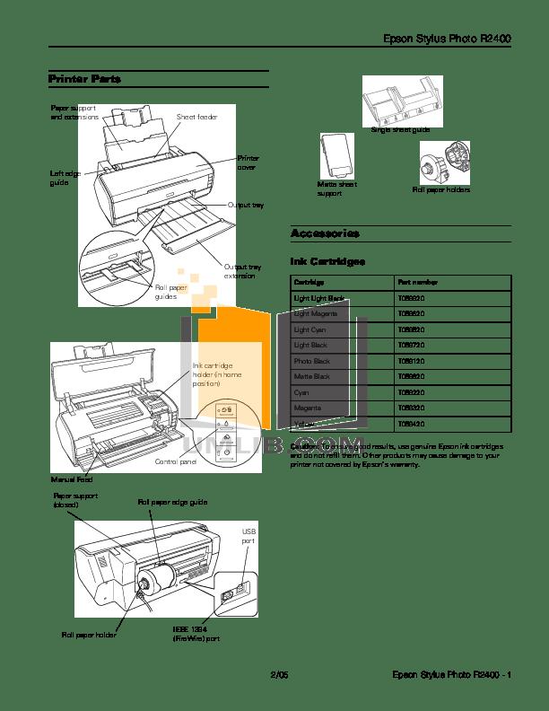 Download free pdf for Epson Stylus Photo R2400 Printer manual