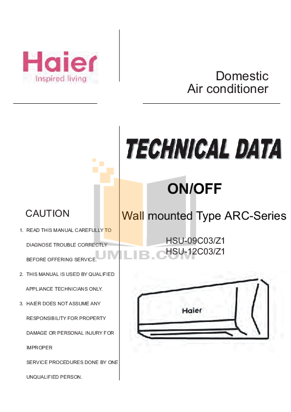 Download free pdf for Haier HW-09C03 Air Conditioner manual