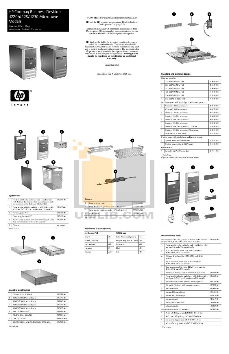 Download free pdf for HP Compaq d230 MT Desktop manual