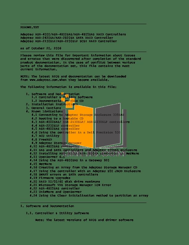Download free pdf for Adaptec AAR-2420SA RAID Controllers