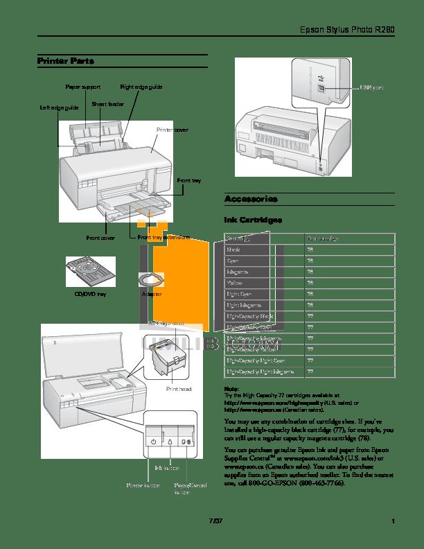 Download free pdf for Epson Stylus Photo R280 Printer manual