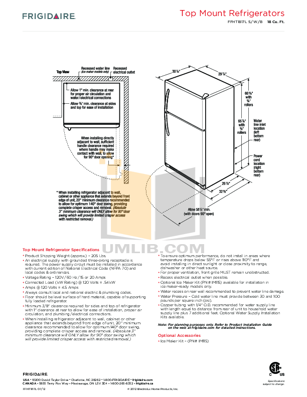 PDF manual for Frigidaire Refrigerator FFHT1817LS