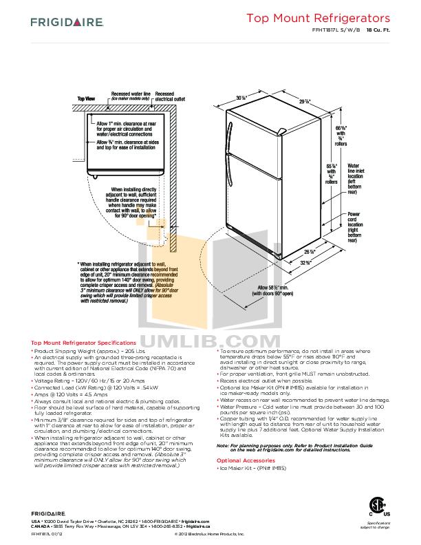 PDF manual for Frigidaire Refrigerator FFHT1817LS