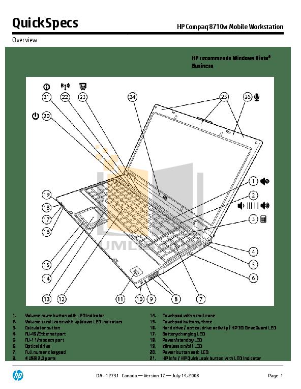Download free pdf for HP Compaq 8710w Laptop manual