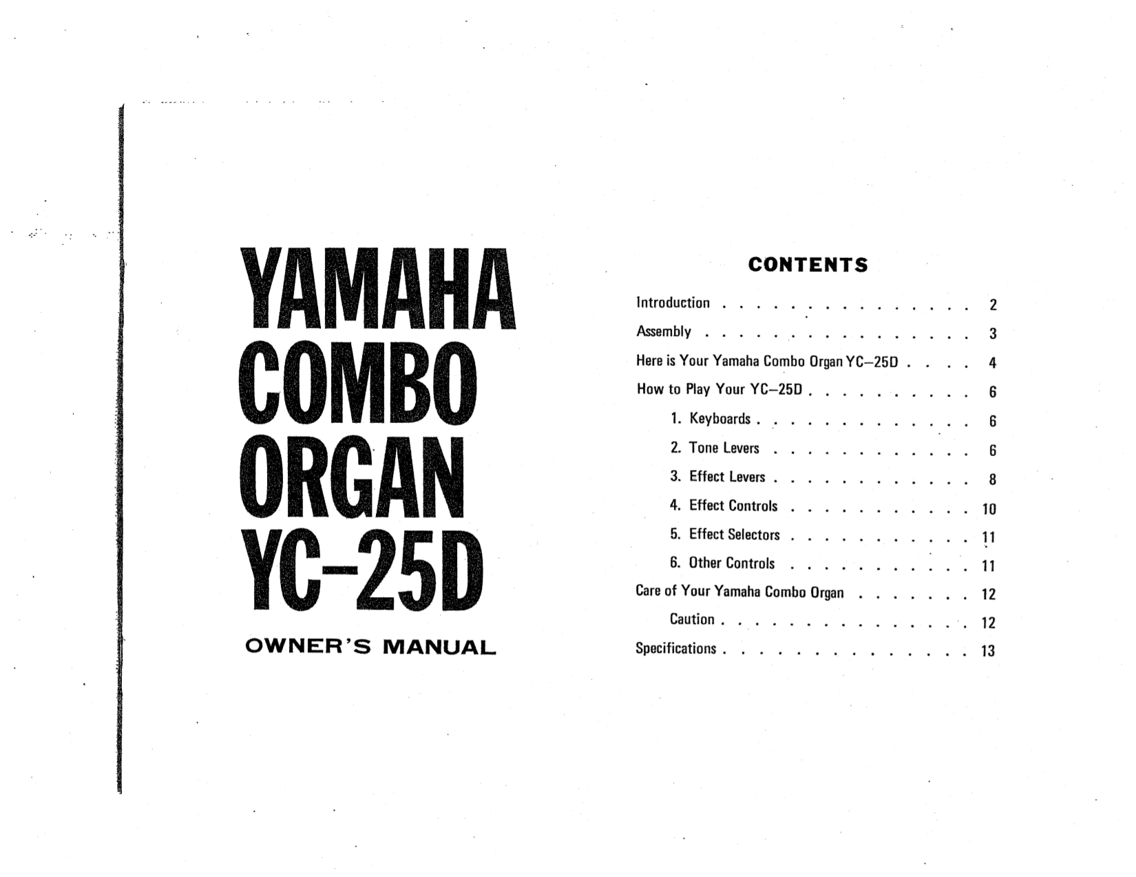 PDF manual for Yamaha Music Keyboard YC-25D