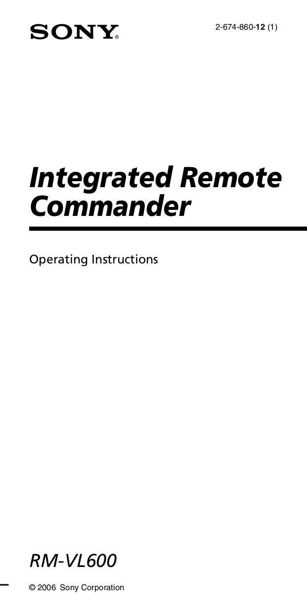 Download free pdf for Sony RM-VL600 Remote Control manual