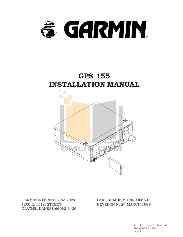 Download free pdf for Garmin GPS 155XL GPS manual
