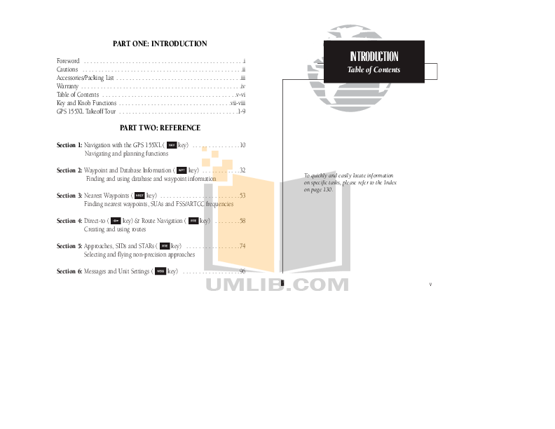 PDF manual for Garmin GPS GPS 155XL