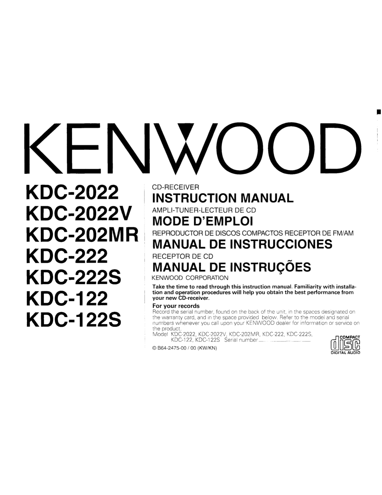 hight resolution of pdf for kenwood car receiver kdc 222 manual