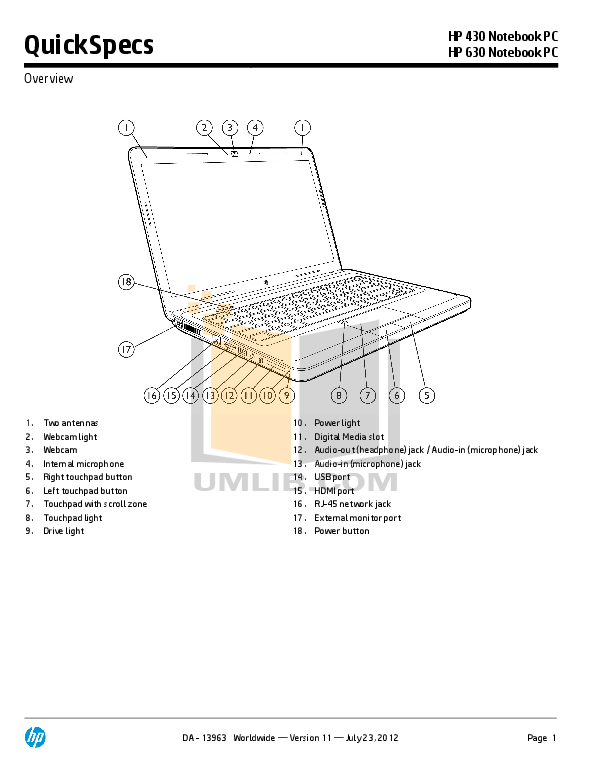 Download free pdf for HP 630 Laptop manual