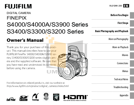 Download free pdf for FujiFilm Finepix S3200 Digital