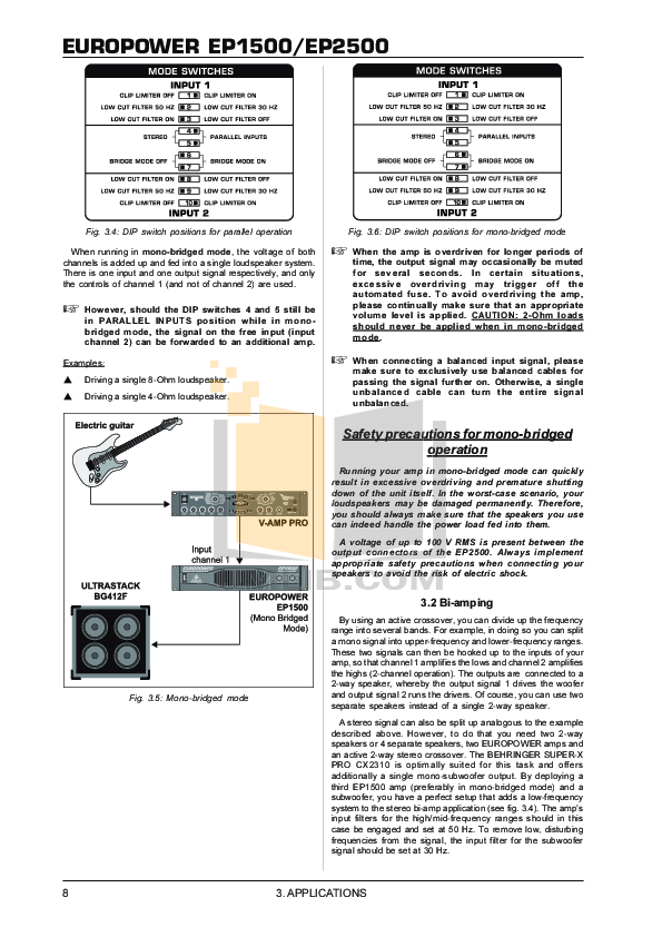 PDF manual for Behringer Car Amplifier EUROPOWER EP1500