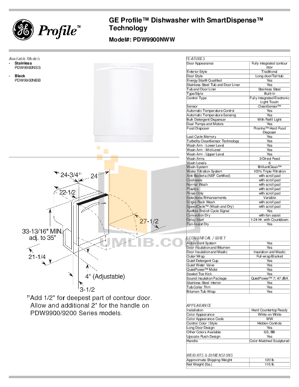 Download free pdf for GE Profile PDW9980NSS Dishwasher manual