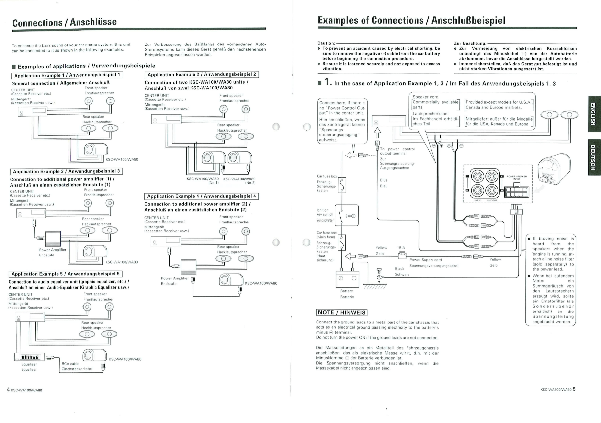 PDF manual for Kenwood Subwoofer KSC-WA100
