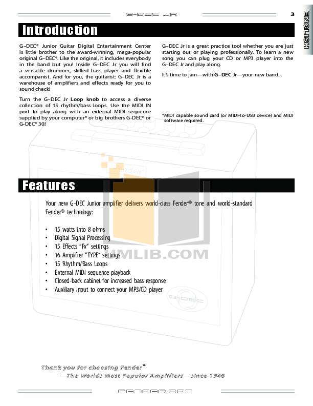 PDF manual for Fender Amp G-DEC Junior