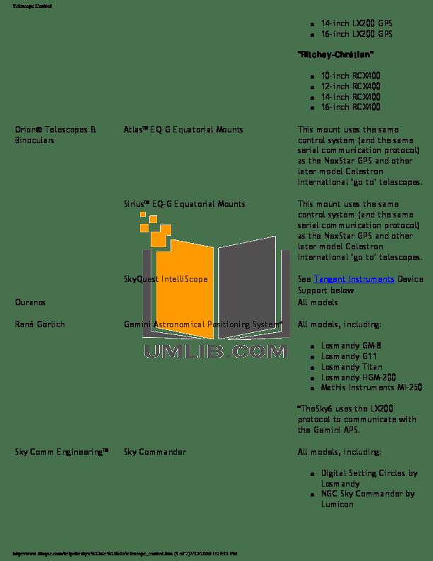 PDF manual for Celestron Telescope CGE925